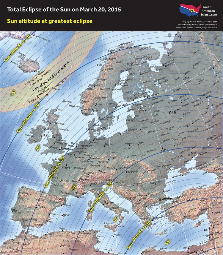 Partial Solar eclipse - 20 Mar 2015 -  Sun altitude greatest eclipse- Zeiler